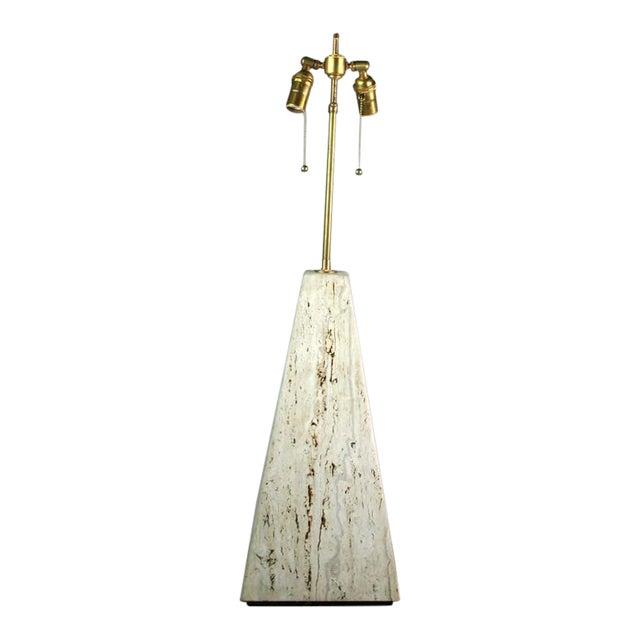 Italian Mid-Century Modern Travertine Lamp For Sale