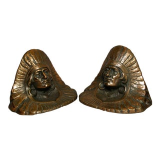 1928 Judd Co Full Headdress Native American Iron Bookends - a Pair For Sale