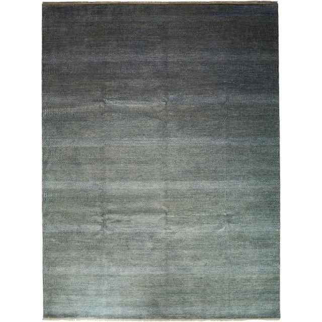 """Tonal Striped Hand Knotted Area Rug - 9'1"""" X 12'3"""" - Image 2 of 4"""