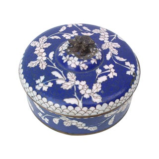 Antique Cloisonne Cobalt Blue Box