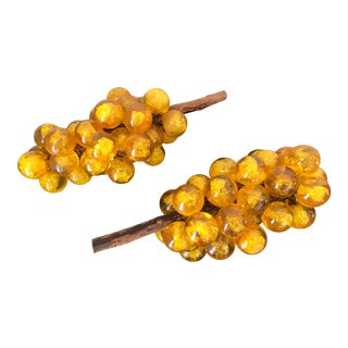 1960s Mid Century Amber Tone Lucite Grapes on Driftwood - a Pair For Sale