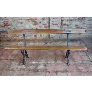 Late 19th Century Antique Cast Iron & Wood Outdoor Farm Bench Preview