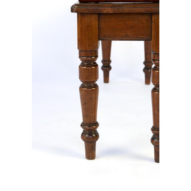 Victorian Mahogany Hall Bench With Carved Bolster Arm-Rests; English, Circa 1870 For Sale In San Francisco - Image 6 of 10