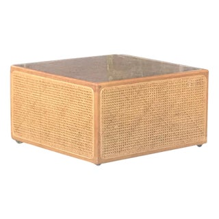 Mid-Century Cane Rattan Square Coffee Table