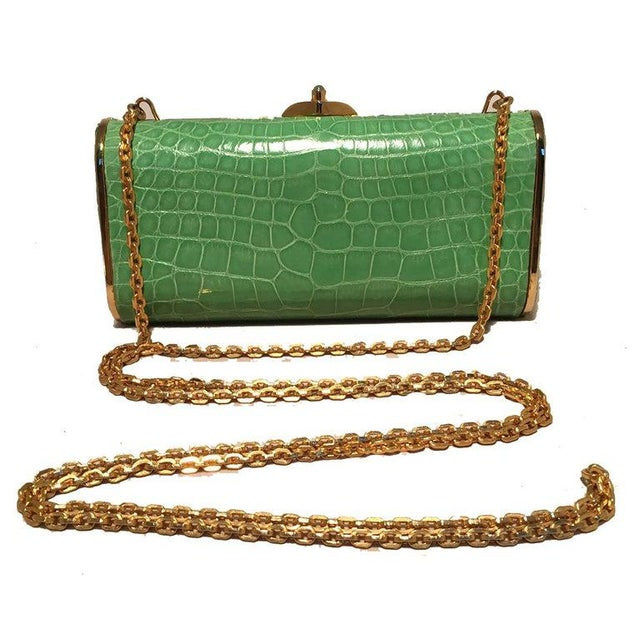 Green Judith Leiber Vintage Mini Green Alligator Clutch Minaudiere For Sale - Image 8 of 9