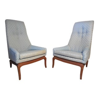 Pair of Vintage Modern High-Back Chairs After Pearsall For Sale