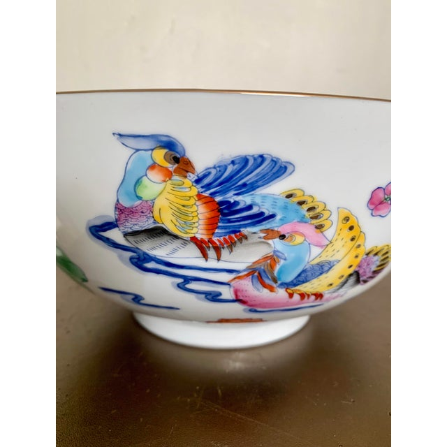 """Stunning vintage hand painted multicolor large bowl with birds and floral decoration and gilt edge. Stamped """" Made in..."""