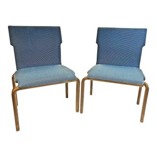 Mid Century Modern Ply Bentwood Blue Upholstered Dining Chairs - a Pair
