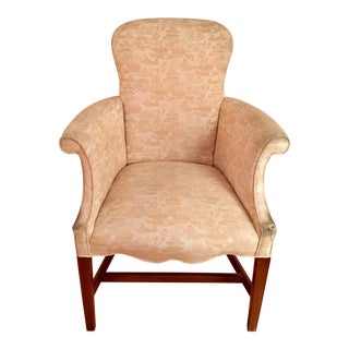 Traditional Style Curved Ladies Wing Armchair For Sale