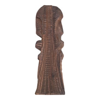 Vintage Carved Abstract Wood Sculpture Signed For Sale