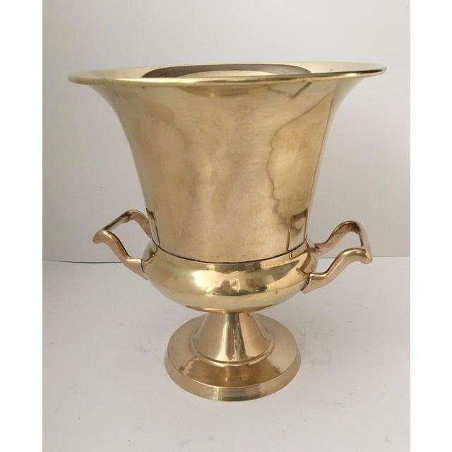 Brass Vintage Brass Urn Shape Champagne Bucket Wine Cooler For Sale - Image 8 of 12