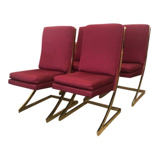 1980s Vintage Milo Baughman Style Red Dining Table Chairs- Set of Four For Sale