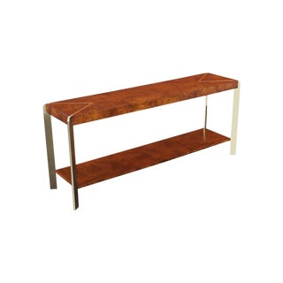 Vintage Burl Wood Console Table For Sale