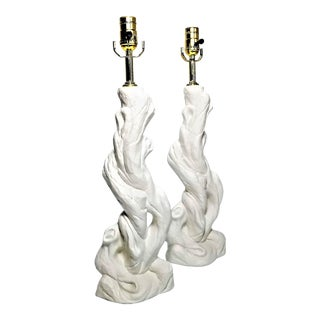 AuthenticWhite Plaster Faux Bois Table Lamps- Restored - a Pair For Sale