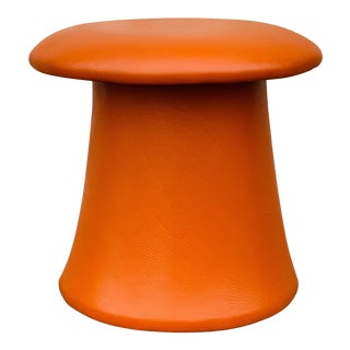 1970s Mid-Century Modern Orange Mushroom Ottoman For Sale