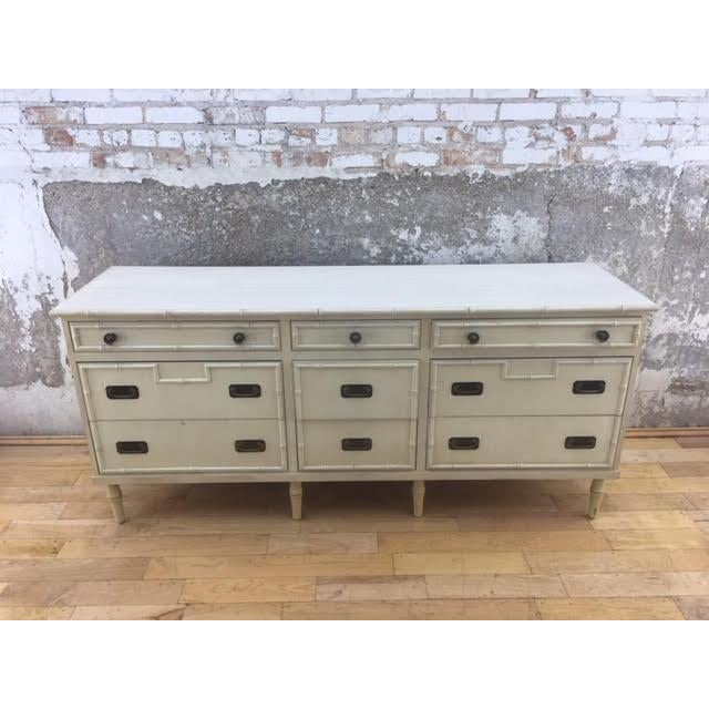 Hollywood Regency 20th Century Hollywood Regency Ficks Reed 9-Drawer Faux Bamboo Dresser For Sale - Image 3 of 6