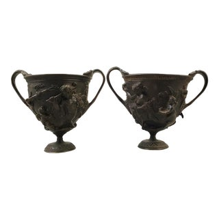 Late 19th Century Antique Italian Roman Style Grand Tour Bronze Cups - A Pair For Sale