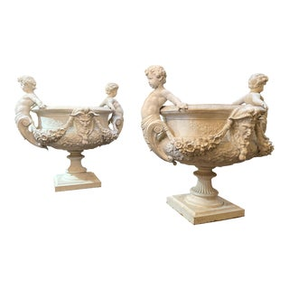 Italian Pewter Planters - A Pair For Sale