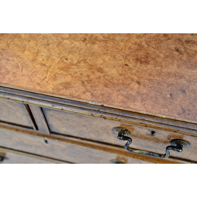 Brown English Georgian Style Walnut Burl Chest of Drawers For Sale - Image 8 of 11