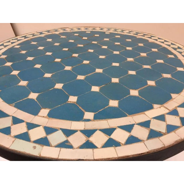 Moroccan Mosaic Blue Tile Bistro Table For Sale - Image 9 of 13
