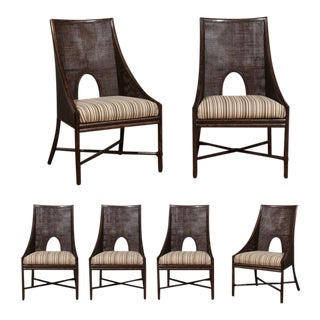 Elegant Set of Six Rattan and Cane Dining Chairs by McGuire For Sale