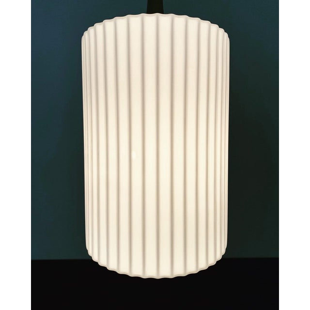 Mid-Century Modern Opaline Glass and Brass Pendant Lamp For Sale - Image 9 of 11