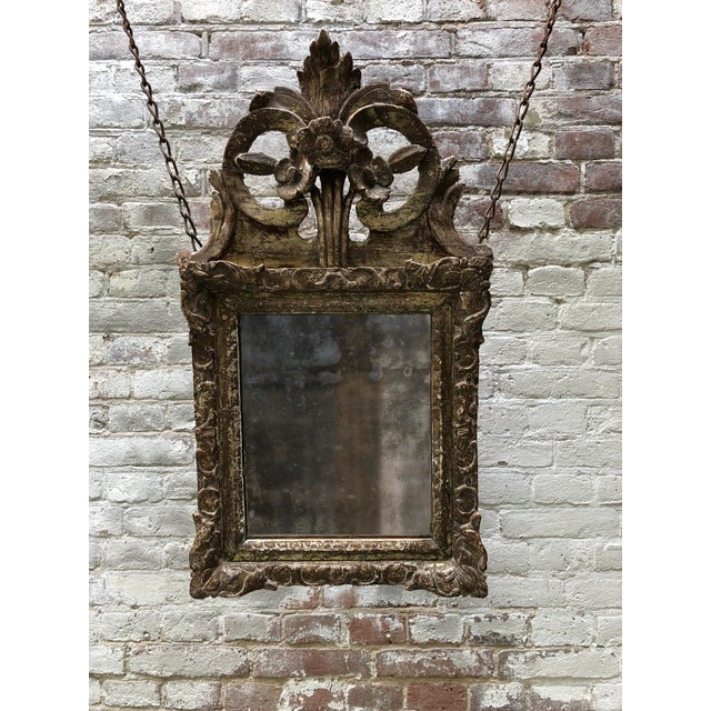 Louis XIV Mirror, Carved Gilt Wood Provincial For Sale - Image 10 of 11