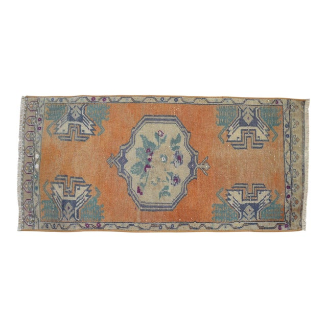 Distressed Low Pile Turkish Yastik Petite Rug Hand Knotted Faded Mat - 21'' X 45'' For Sale