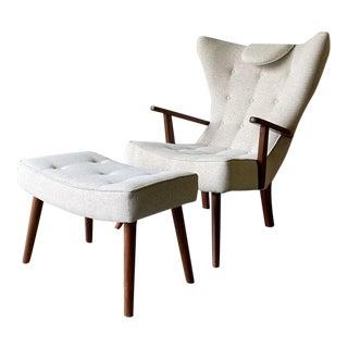 Mid Century Modern Teak Adrian Pearsall Styled Armchair + Ottoman For Sale