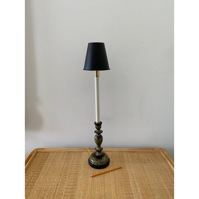 Black Vintage Frederick Cooper Cloisonné Table Desk Lamp For Sale - Image 8 of 8