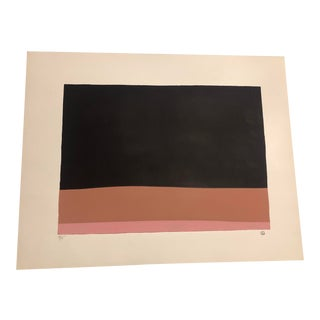 Black, Pink & Terracotta Colored Minimalist Hand Painted Serigraph 4/5 by Geoffrey Graham For Sale