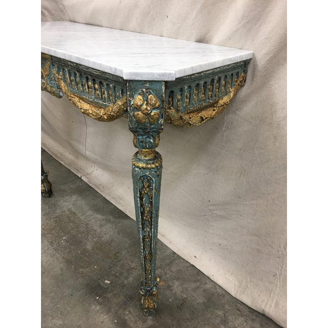 19th C French Marble Top Painted Console Table For Sale In Austin - Image 6 of 10