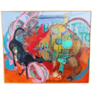 Large Scale Colorful Expressionist Painting by K Thrasher For Sale