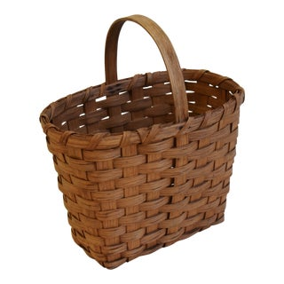 Vintage Hand-Crafted New England Splint-Wood Gathering Basket For Sale