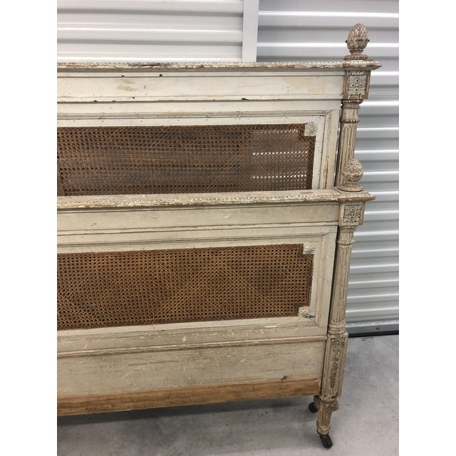 French Antique French Cane Twin Headboard and Footboard - 2 Pieces For Sale - Image 3 of 10