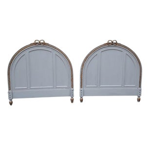 Pair Antique French Gray Headboards Shabby French Painted Carved Twin Headboards For Sale