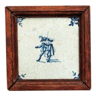 18th-Century Delft Cavaliers Tile For Sale