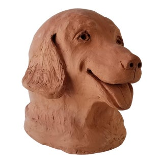 1995 N. Port Art Handmade Life Size Terracotta Dog Head Sculpture For Sale