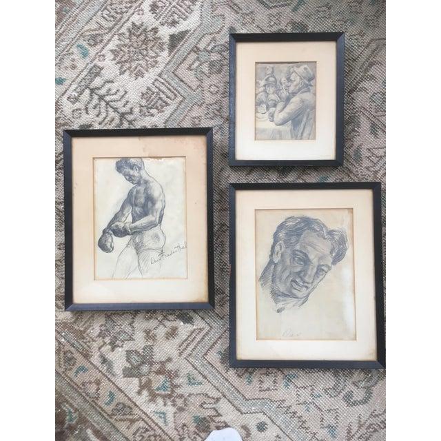 "Vintage Original ""Boxer, Portrait, Card Game"" Drawings by David Fredenthal - Set of 3 For Sale - Image 11 of 11"