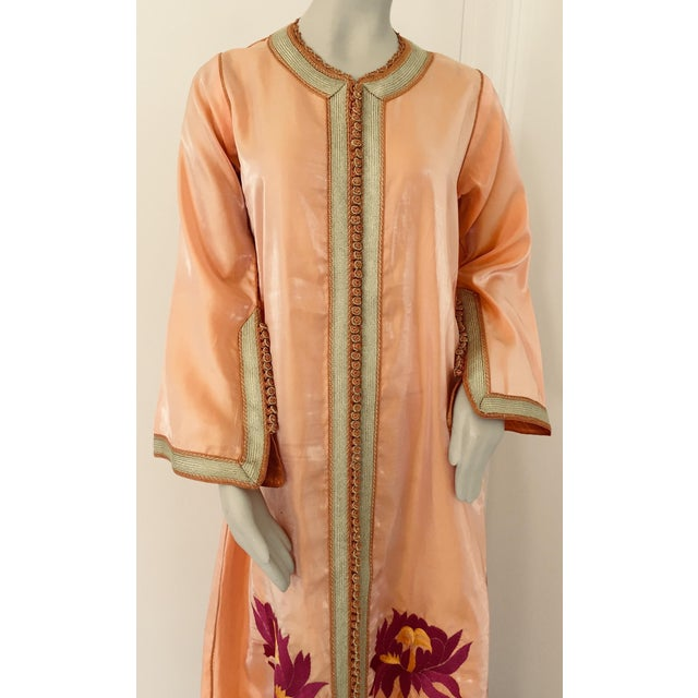 Moroccan Vintage Caftan 1970s Kaftan Maxi Dress Orange With Floral Embroideries For Sale - Image 9 of 12