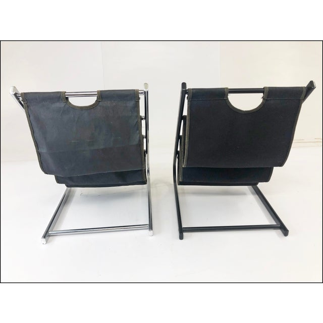Silver Vintage Mid Century Modern Sling Style Magazine Racks - a Pair For Sale - Image 8 of 11