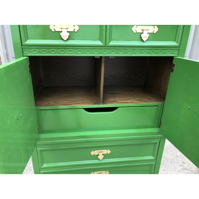 Green Vintage Chinoiserie Style Dresser by Dixie Furniture For Sale - Image 8 of 9