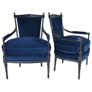 Pair of Directoire Style Fauteuil Chairs For Sale