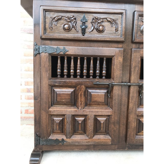Brown 20th Century Spanish Carved Dark Walnut Tuscan Two Drawers Credenza or Buffet For Sale - Image 8 of 13