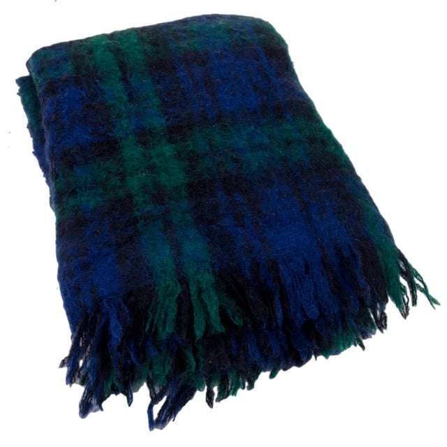 Regency for Molly Roberts Plaid Mohair Blanket Made in Scotland 75% Mohair 20% Wool 5% Polyamide Very good condition with...