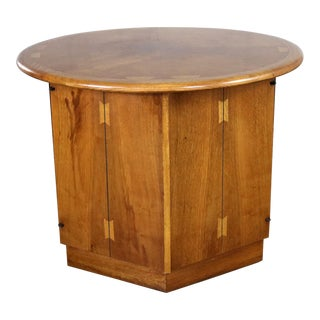 Lane Acclaim Dovetail End Table With Round Top and Hexagon Cabinet Base by Andre Bus For Sale