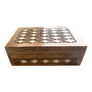 Hand Carved Decorative Wooden Box For Sale