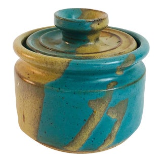 Vintage Turquoise and Tan Pottery Container For Sale