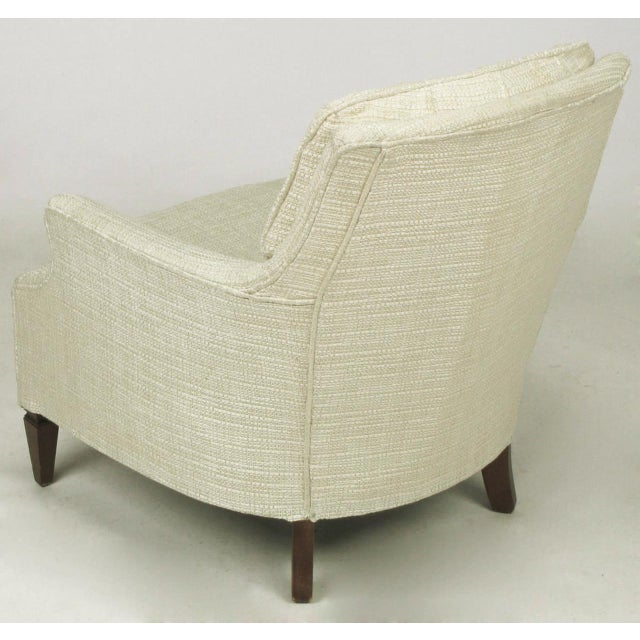 1950s Button Tufted Creamy Linen Lounge Chair and Ottoman For Sale - Image 5 of 9