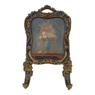19th Century Hand Painted Fire Screen For Sale
